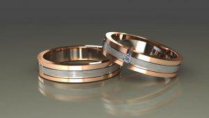 Комбинированные обручальные кольца из белого и желтого золота