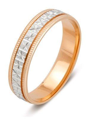 обручальное кольцо с алмазной гранью из желтого и белого золота