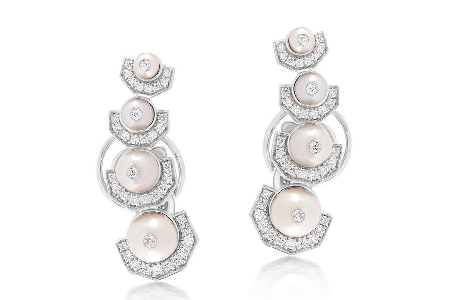 Жемчужные и бриллиантовые серьги от Ananya