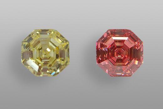 Изменение окраски желтого синтетического бриллианта на розовый