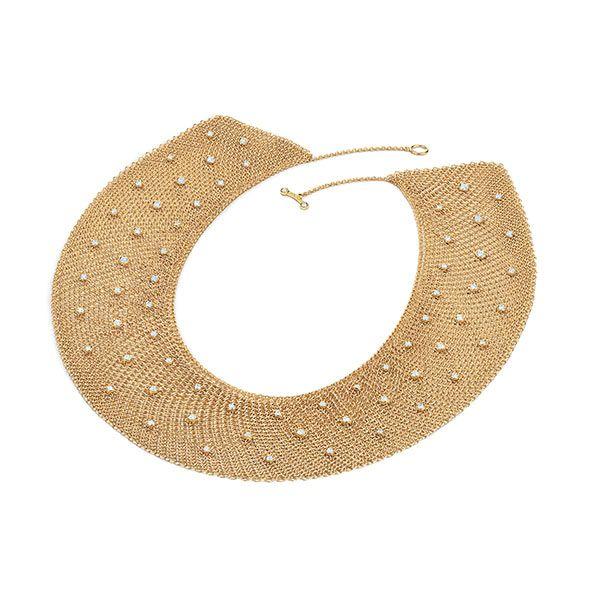 Сетчатое колье из желтого золота с 66 круглыми бриллиантами