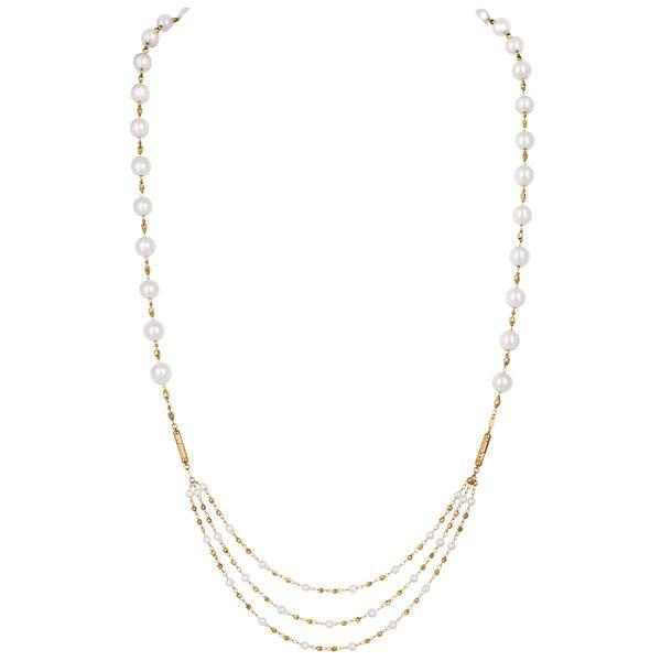 Трансформируемое магнитное ожерелье из желтого золота с акойей и пресноводным жемчугом