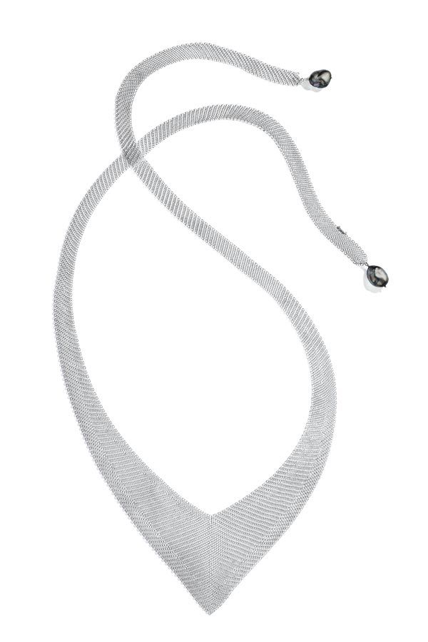 Серебряное колье Mesh с жемчугом кеши