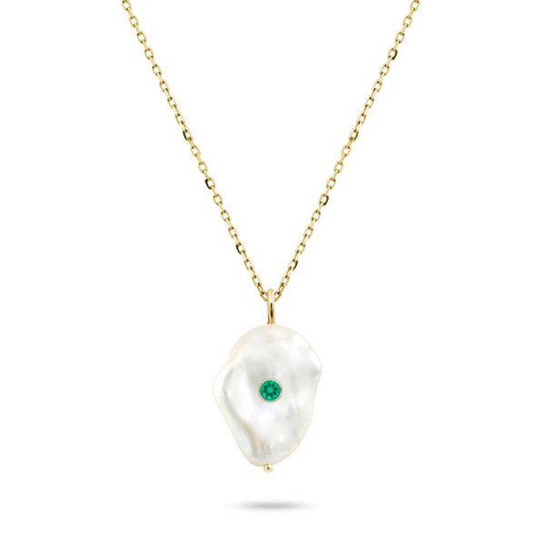 Подвеска Kenna от White Space Jewelry из камня с жемчугом в стиле барокко и изумрудом