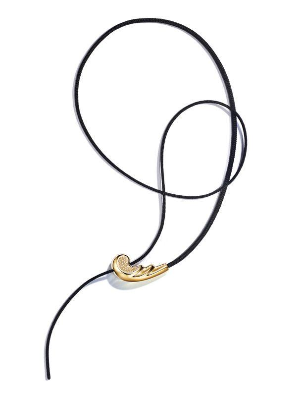 Колье Whip с золотом, бриллиантами и шелковым шнуром
