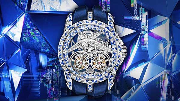 Часы Excalibur Superbia от Roger Dubuis в корпусе из белого золота 45 мм с бриллиантами и сапфирами