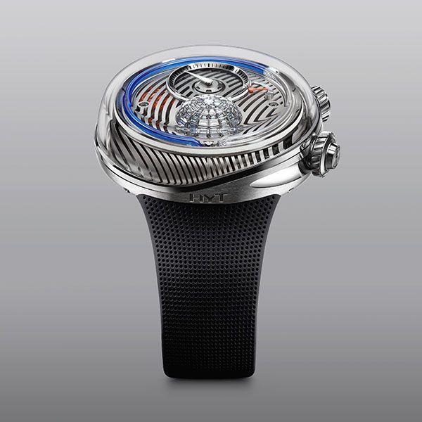 Часы Flow от HYT Watches в корпусе 51 мм из нержавеющей стали, с синей жидкостью и бриллиантами