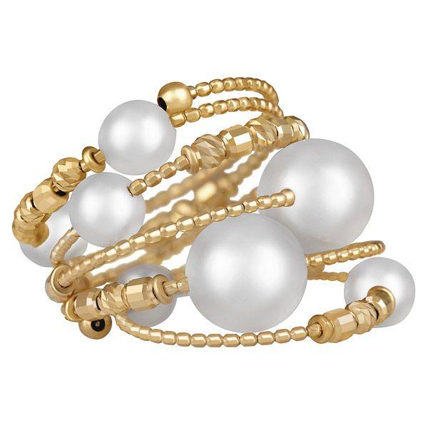 Спиральное кольцо из желтого золота с жемчугом акойя