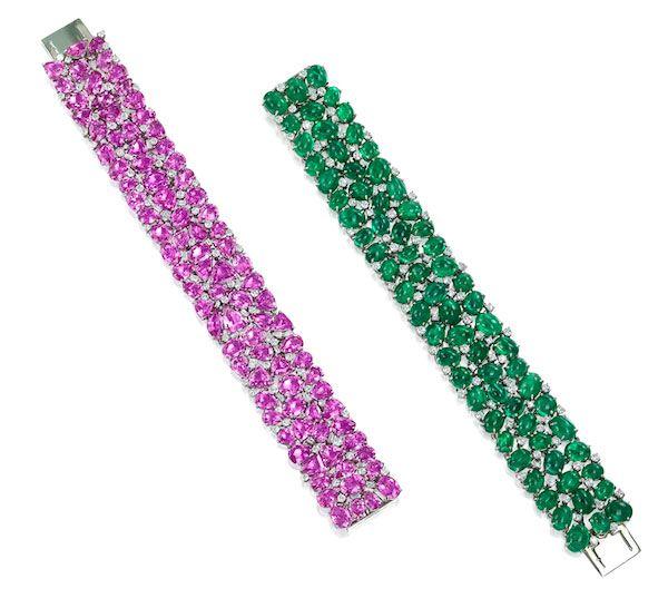 Браслет из платины с розовыми сапфирами и бриллиантами круглой и пятиугольной формы