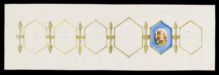 Дизайн золотого браслета с шестью шестиугольными пластинами