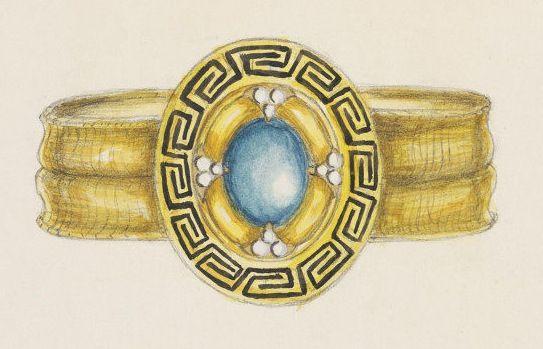 Дизайн для золотого браслета с медальоном с бирюзой