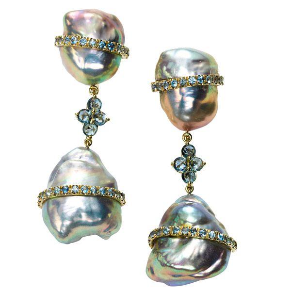Серьги от Rush Jewelry Design из желтого золота с жемчугом и сапфирами