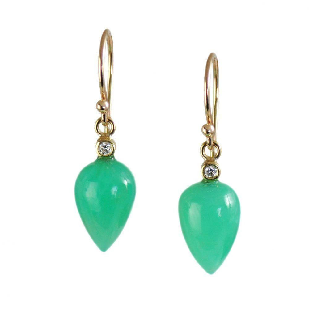 Яркие полупрозрачные зеленые капли хризопраза