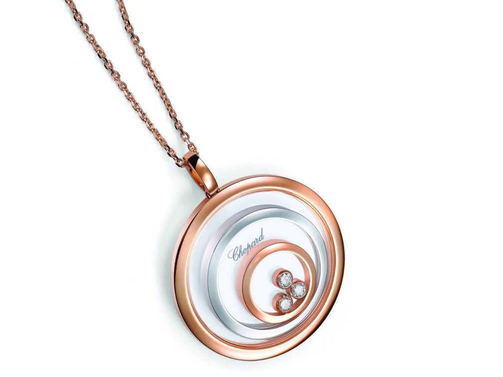 Колье-кулон Happy Spirit из 18-каратного розового и белого этичного золота с танцующими бриллиантами