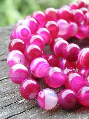 бусы с розовым агатом