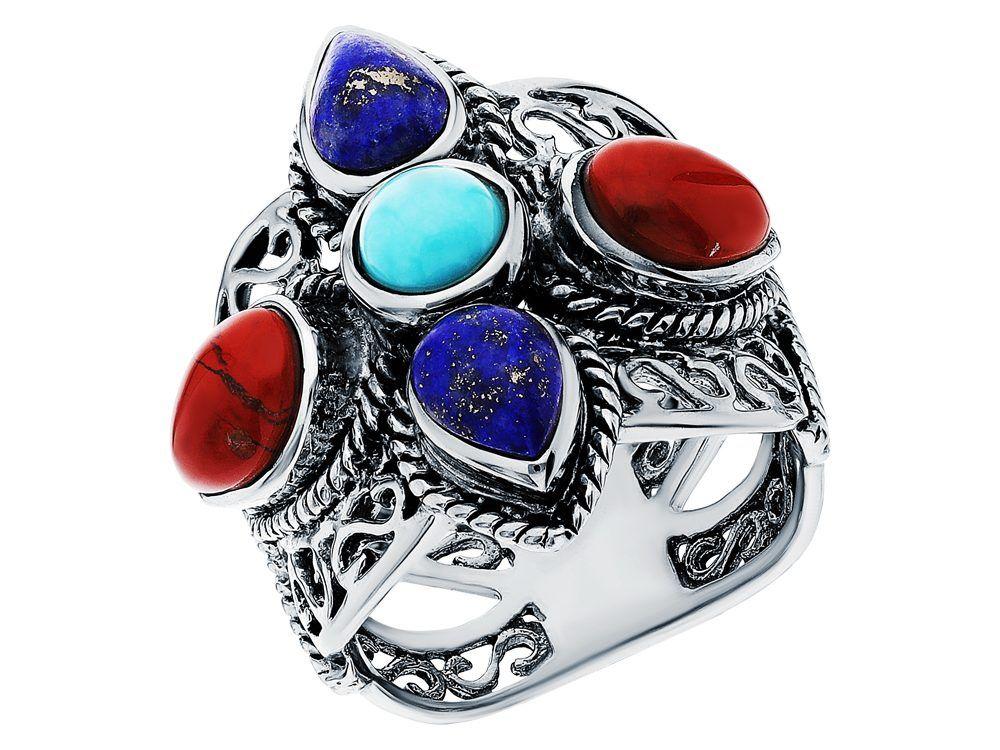 Серебряное кольцо с яшмой, бирюзой и лазуритом, sunlight