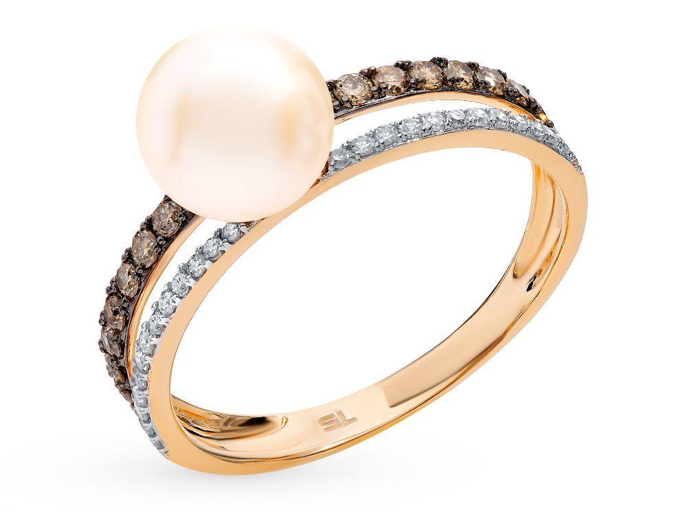 """Золотое кольцо с коньячными бриллиантами, жемчугом коллекция """"ОДРИ"""""""