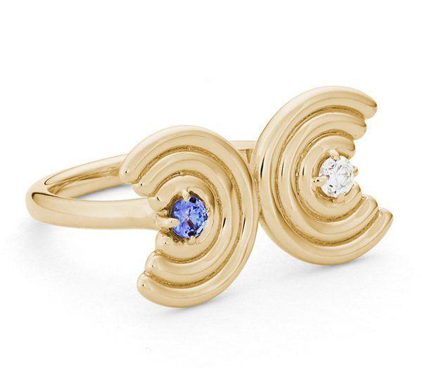 Кольцо Double Revival из желтого золота с танзанитом и бриллиантом