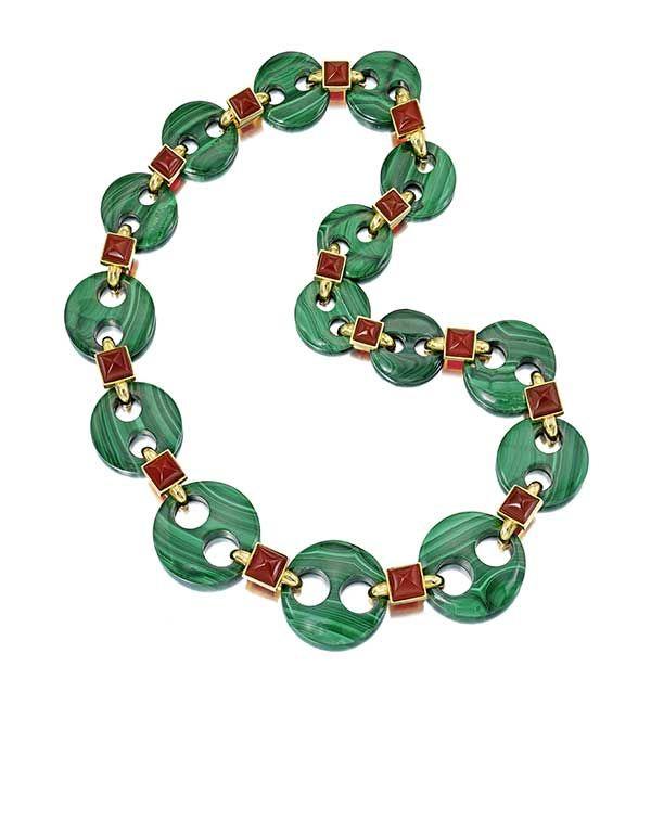 Ожерелье из малахита и сердолика