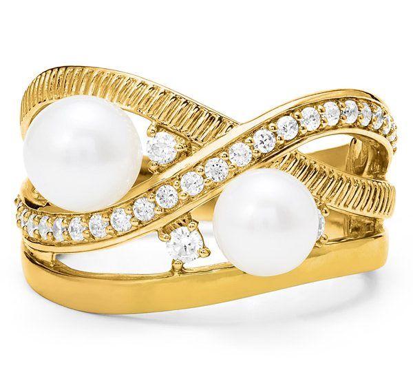 Кольцо Shima из желтого золота с пресноводным жемчугом и бриллиантами