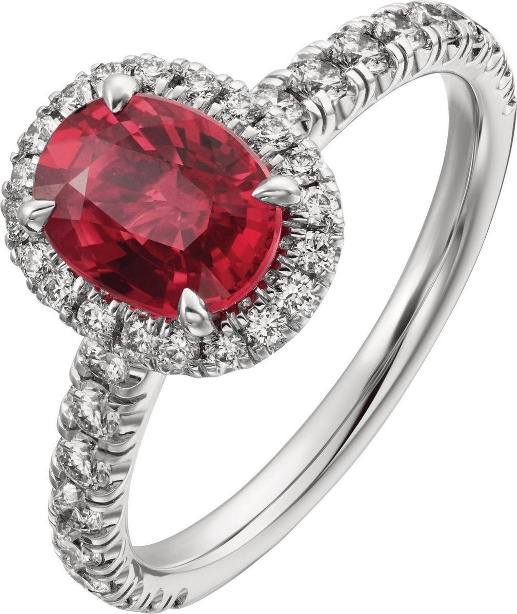 Кольцо Destinée от Cartier из платины с рубином и бриллиантами