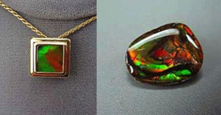 Слева: аммолитовое дублетное украшение. Справа: украшения с триплетом из аммолита