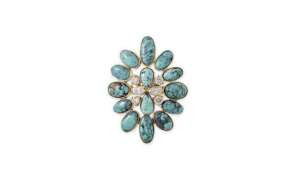 Кольцо Blossom от Jacquie Aiche из желтого золота с бриллиантами и бирюзой