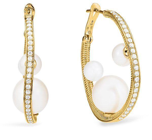Серьги-кольца Shima из желтого золота с пресноводным жемчугом и бриллиантами