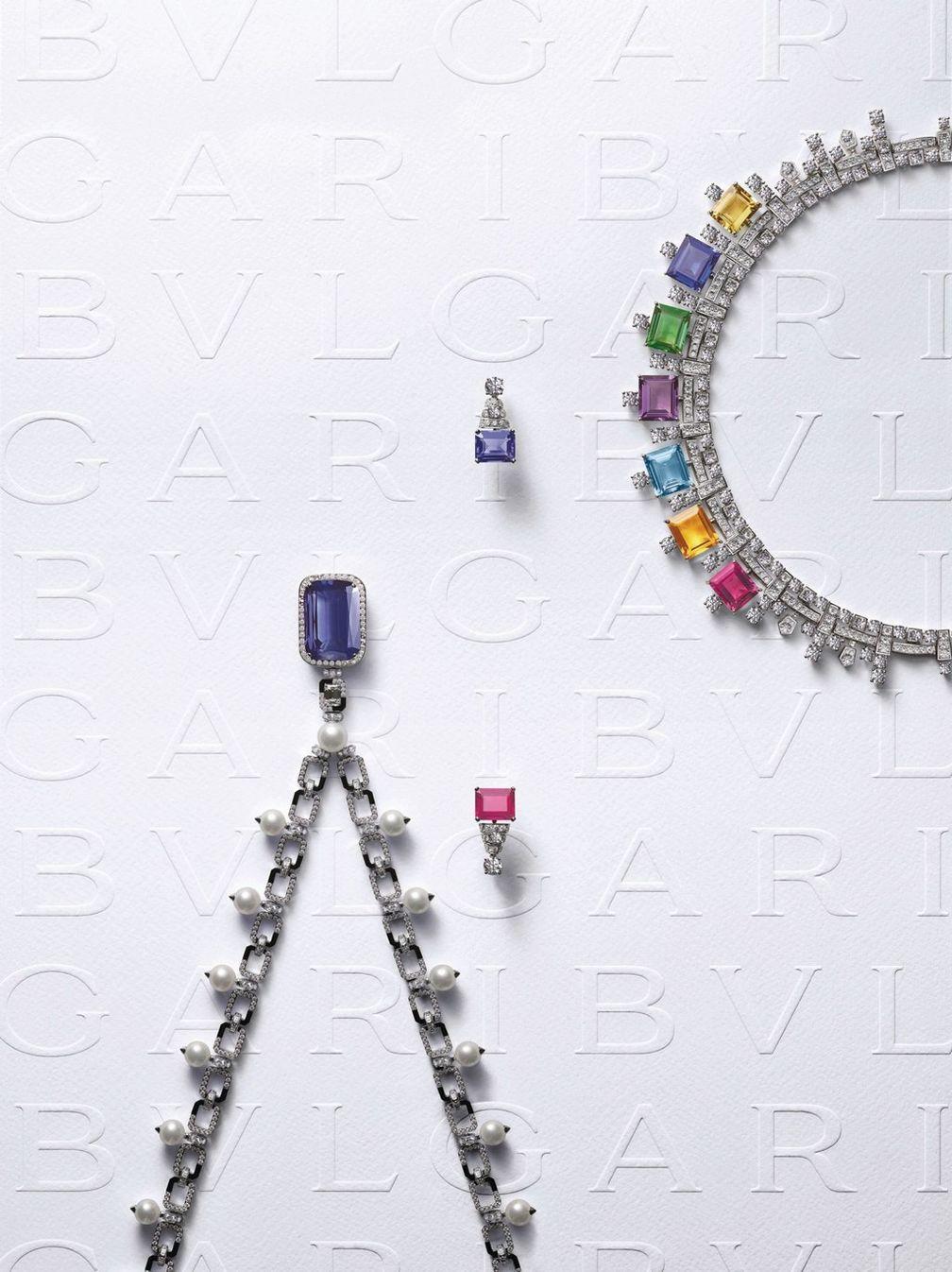 Колье с цирконом, танзанитом, жемчугом и бриллиантами; серьги с танзанитом, рубеллитом и бриллиантами; колье с рубеллитом, турмалином, аметистом, цитрином, кварцем, аквамарином, танзанитом и бриллиантами