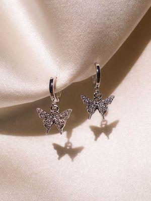 серебряные серьги-бабочки