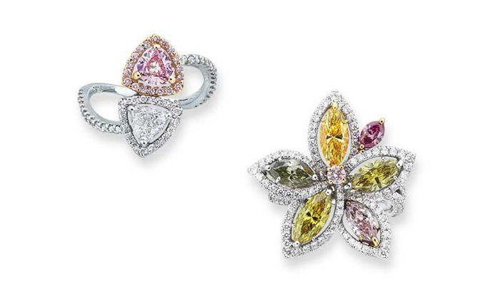украшения с цветными бриллиантами