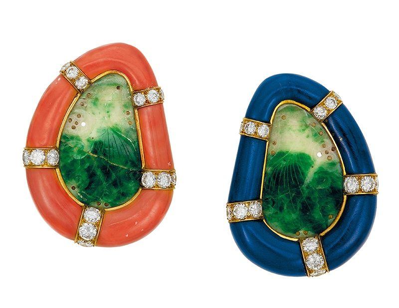 Серьги из резного нефрита, коралла, лазурита и бриллиантов от JAR
