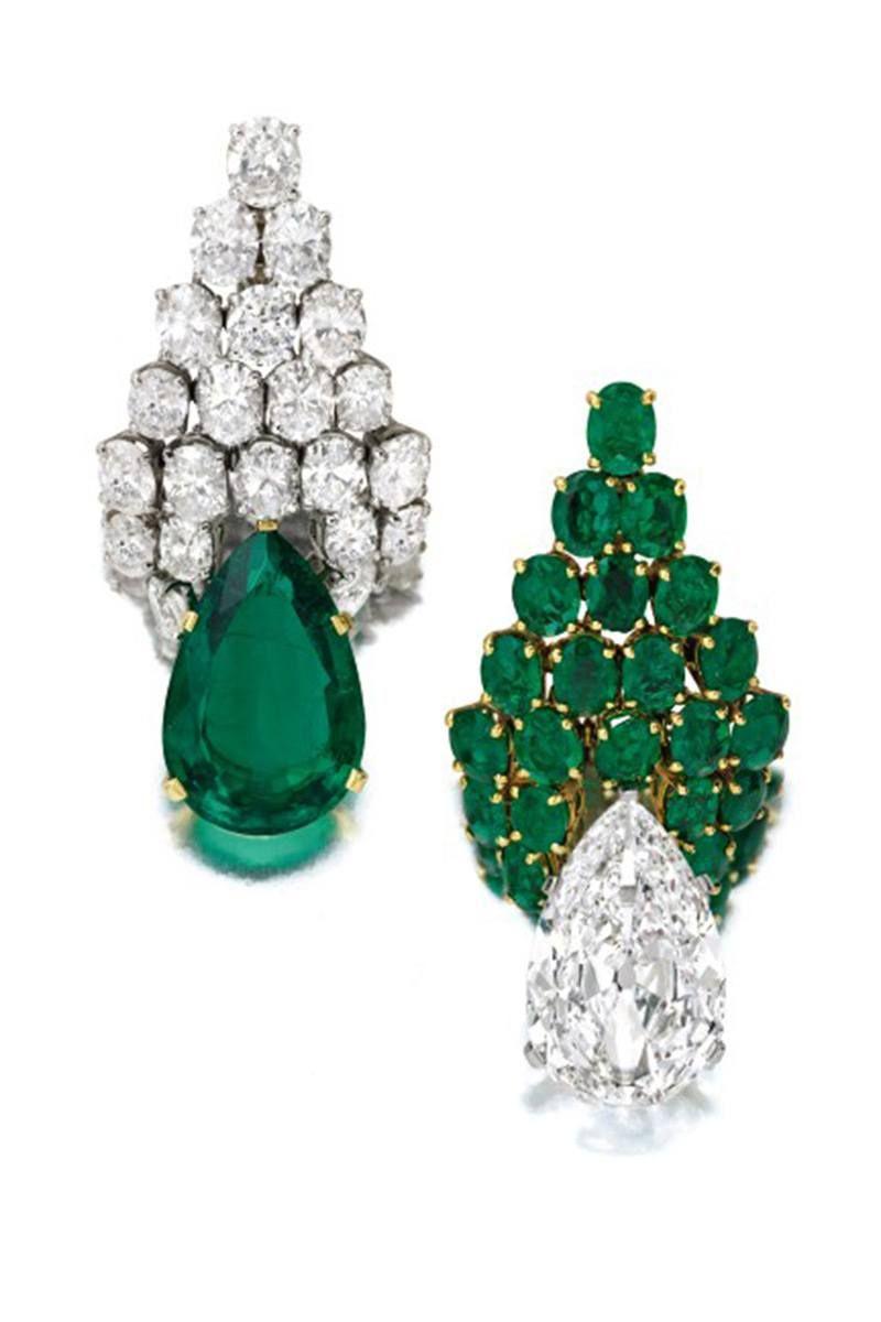 Серьги Bulgari с изумрудами и бриллиантами