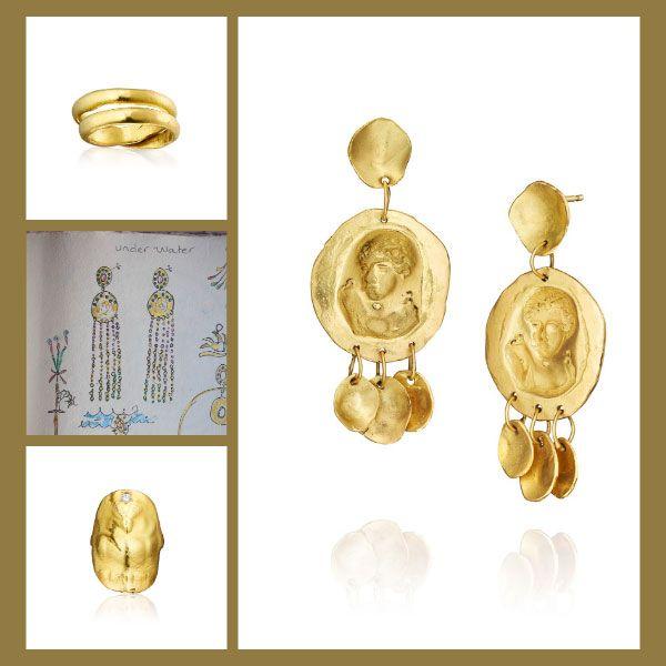 Кольцо Nomad из золота, серьги Secret Woman из желтого золота, кольцо в виде совы из золота с бриллиантом