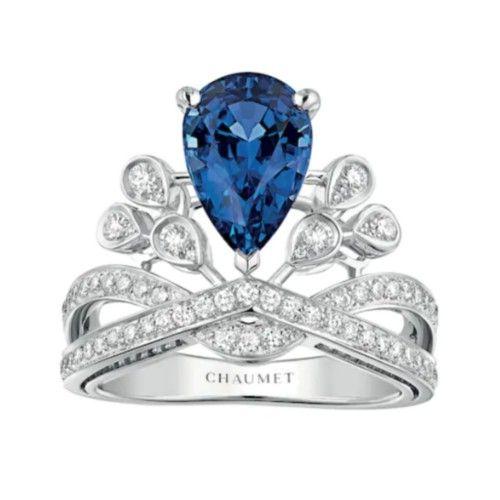 Кольцо Joséphine Aigrette Impériale из платины с сапфиром и бриллиантами
