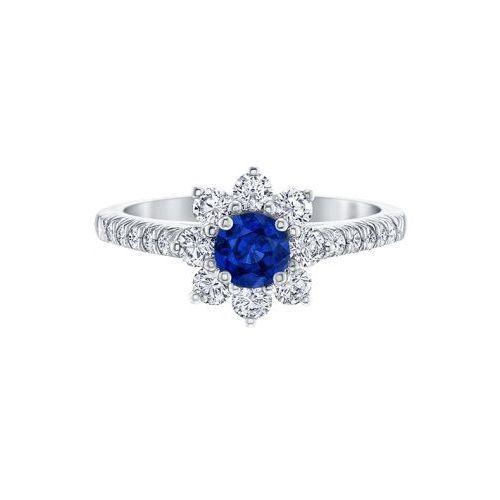 Кольцо Sunflower, Petite Sapphire and Diamond из платины с сапфиром и бриллиантами