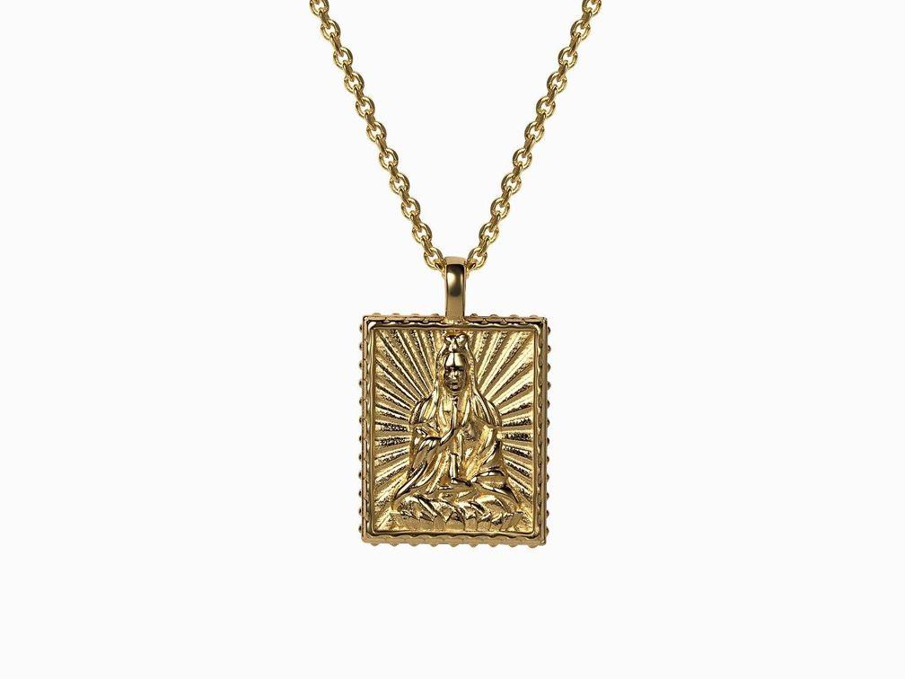 Кулон Quan Yin, позолоченное серебро Vermeil
