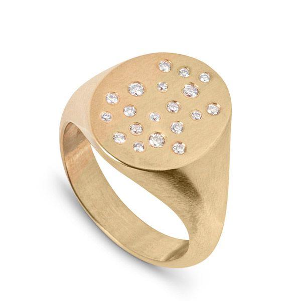 Кольцо Celestial из переработанного желтого золота с выращенными в лаборатории бриллиантами