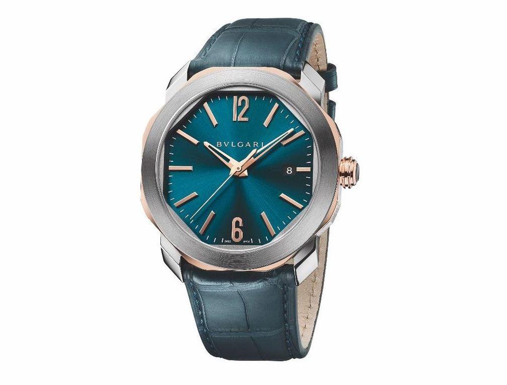 Часы Octo Roma от Bulgari с корпусом из нержавеющей стали и розового золота 18 карат, браслетом из синей кожи аллигатора