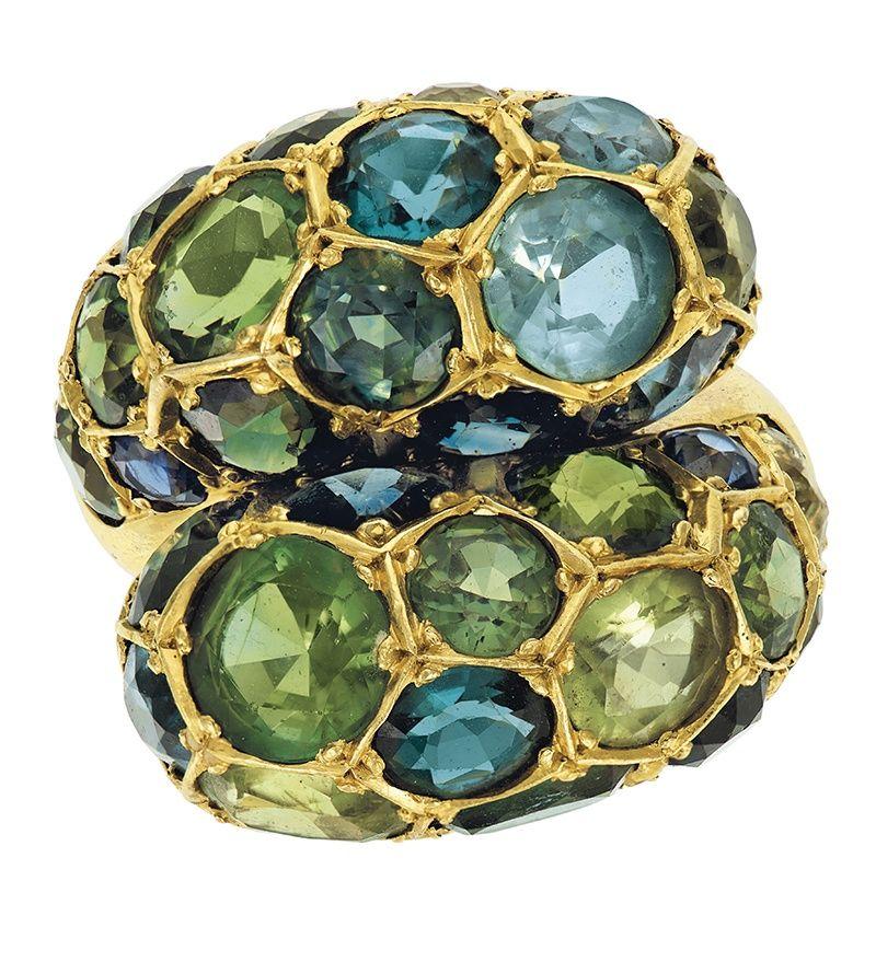 Кольцо Herz-Belperron из золота с несколькими драгоценными камнями из коллекции Барбары Аллен де Квятковски.
