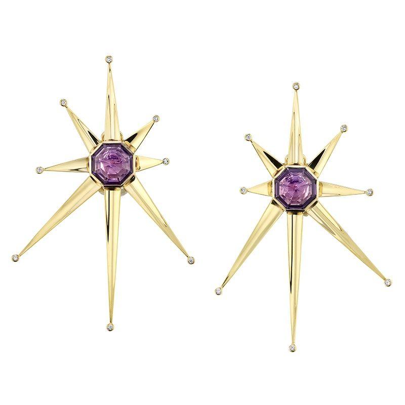 Серьги-клипсы Oak Supernova от Vram с аметистом и бриллиантами