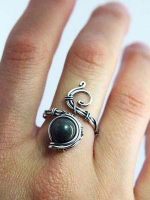 Кольцо (стерлинговое серебро, гелиотроп)