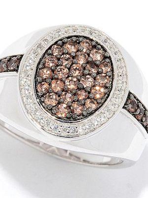 Мужской перстень с андалузитом и белым цирконом