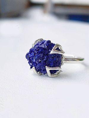 кольцо с азуритом