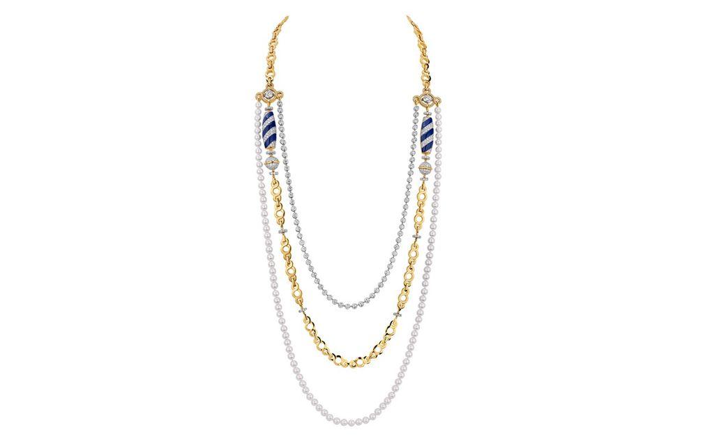 Колье Volute Vénitienne из белого и желтого золота, бриллиантов и лазурита