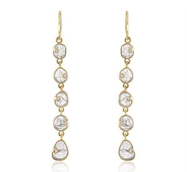 Серьги-подвески из с алмазными дольками и белыми бриллиантами