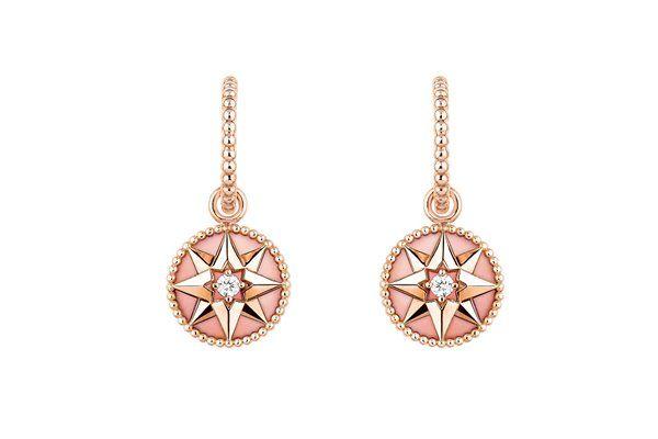 Серьги Rose des Vents из розового золота с бриллиантами и розовым опалом
