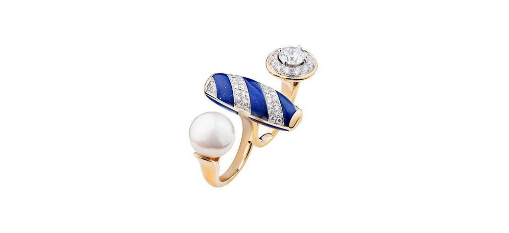 Кольцо Volute Vénitienne из белого и желтого золота, бриллиантов, лазурита и культивированного жемчуга