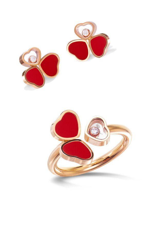 Серьги и кольцо Happy Hearts Wing от Chopard из розового золота