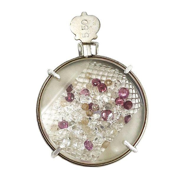 Винтажная подвеска из стерлингового серебра, латуни и стали с алмазным кварцем Herkimer, розовым сапфиром и гранатом